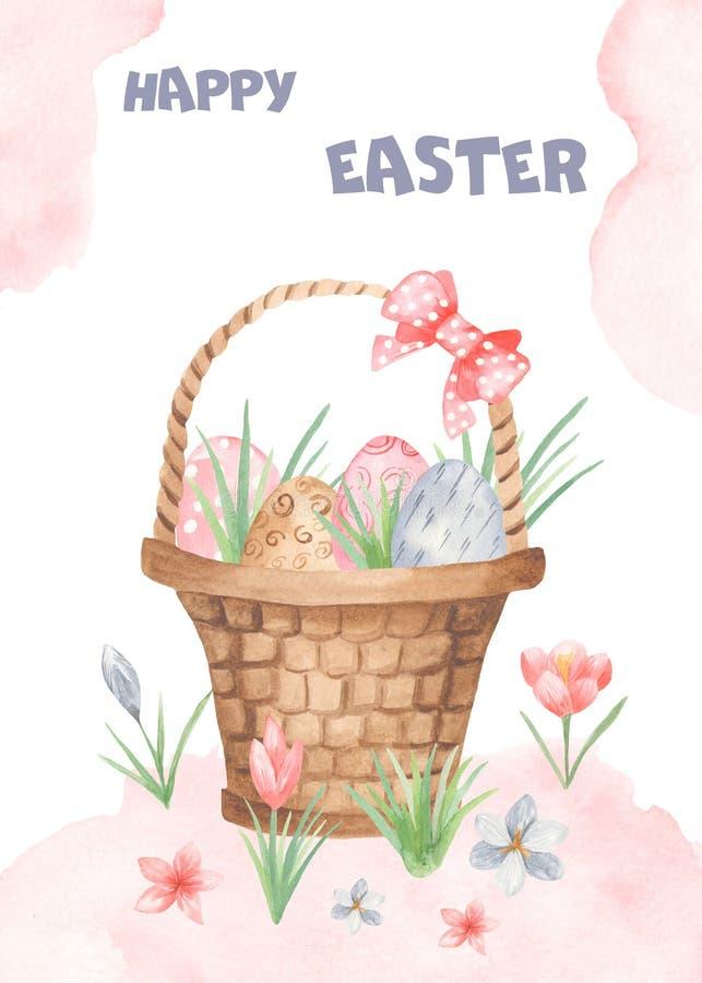 Tarjeta de pascua de la acuarela con la cesta, arco, huevos libre illustration