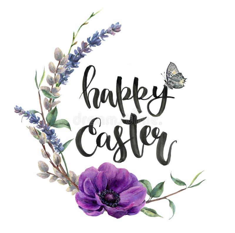 Tarjeta de pascua de la acuarela con la flor de la anémona Frontera pintada a mano con la rama de la lavanda, de la mariposa, del stock de ilustración