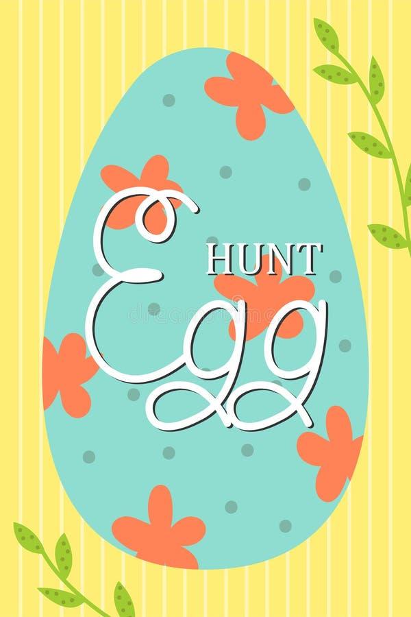 Tarjeta de pascua linda del vector Huevos de Pascua, día de fiesta de la primavera Tarjeta de felicitación Caza del huevo ilustración del vector