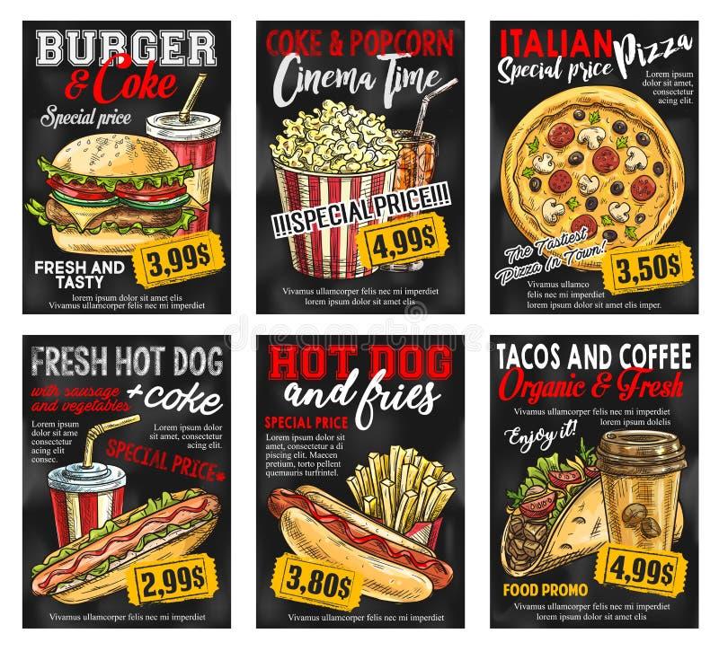 Tarjeta de precio del menú del restaurante de los alimentos de preparación rápida en la pizarra stock de ilustración