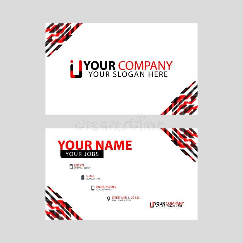 Tarjeta de presentación horizontal con acentos decorativos en el logotipo del borde y de la prima II en negro y rojo libre illustration