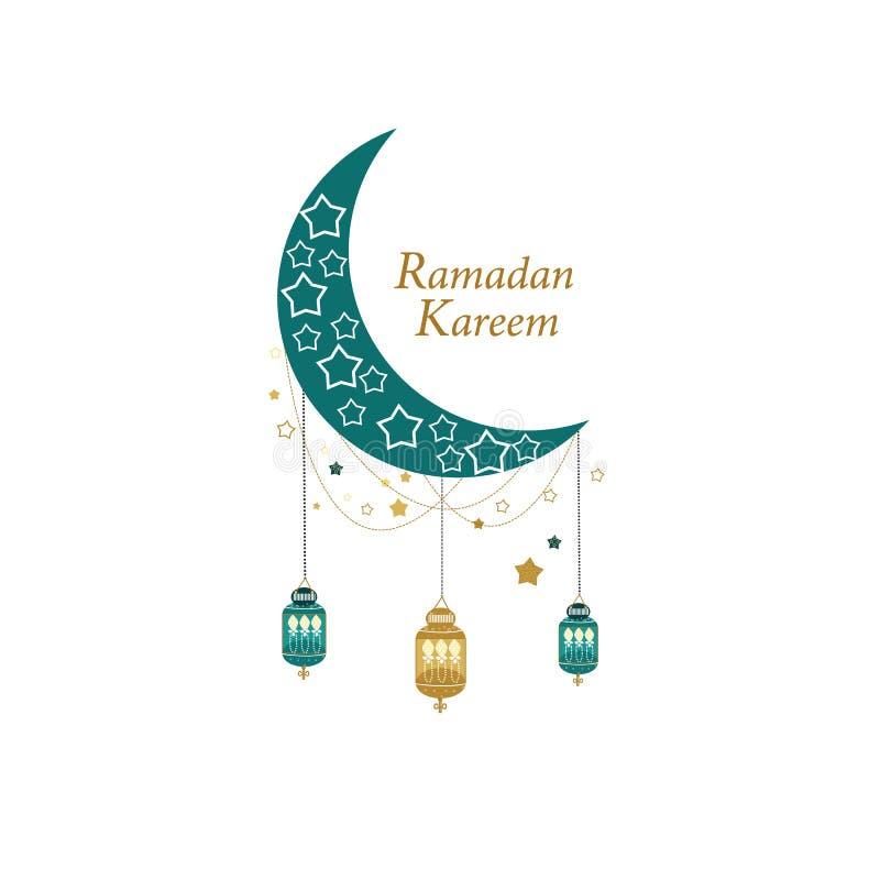 Tarjeta de Ramadan Greeting con oro y luna, creciente y estrellas coloreados verdes Linterna tradicional stock de ilustración
