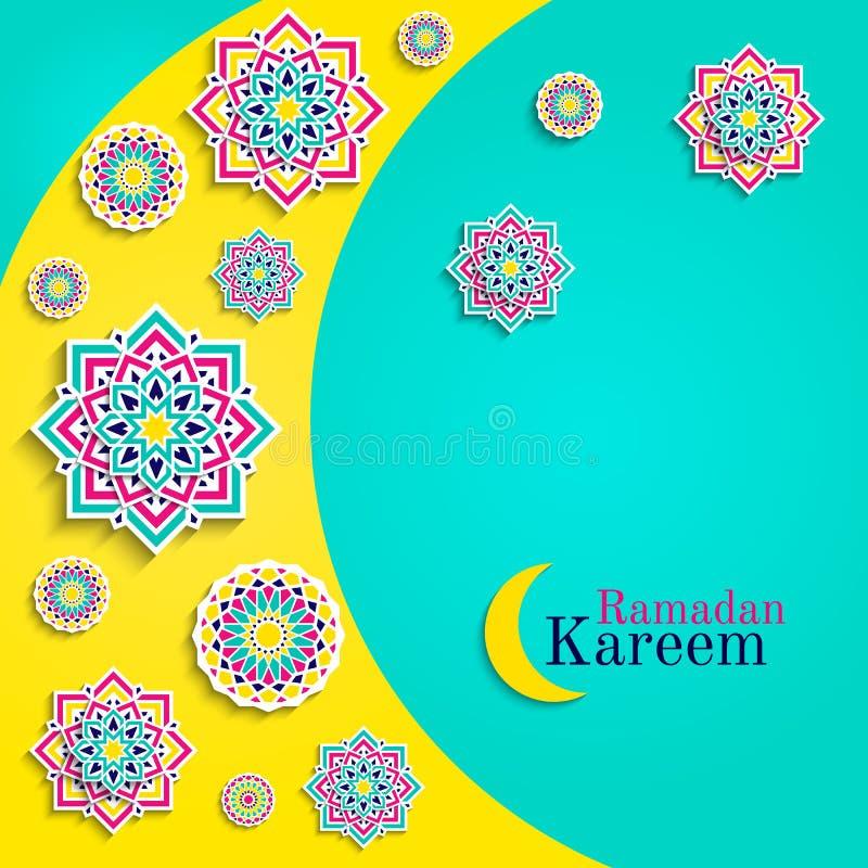 Tarjeta de Ramadan Kareem con la luna Tarjeta de felicitación islámica Diseño árabe de los días de fiesta Elementos redondos, flo libre illustration