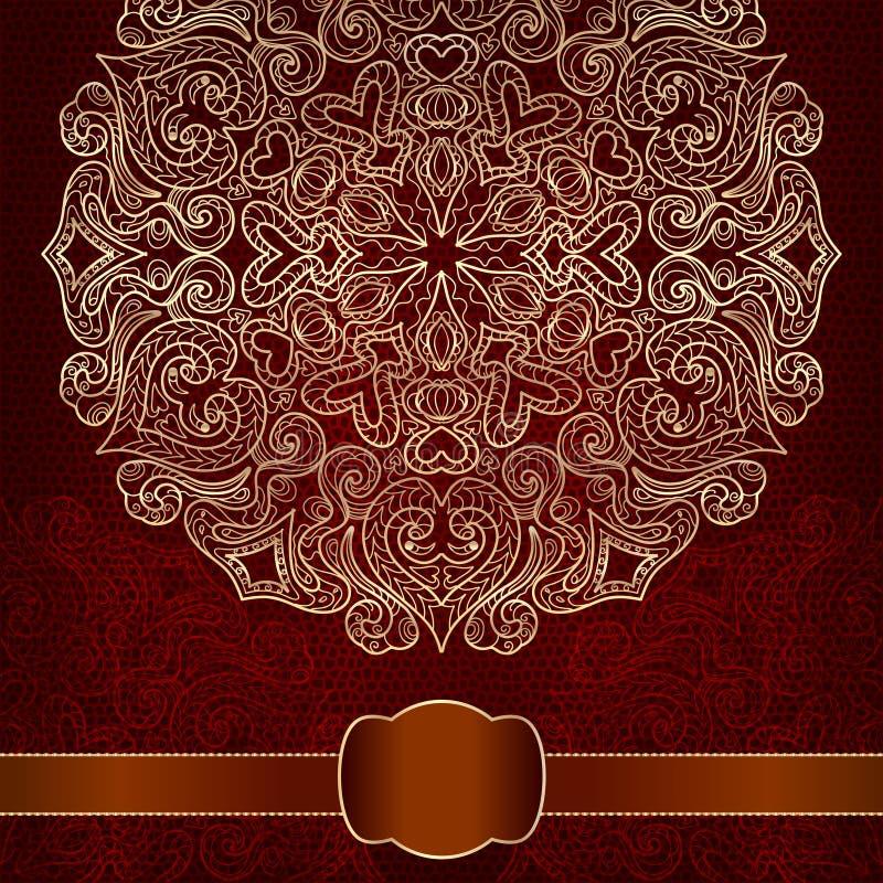 Tarjeta de regalo con el ornamento del oro redondo. stock de ilustración