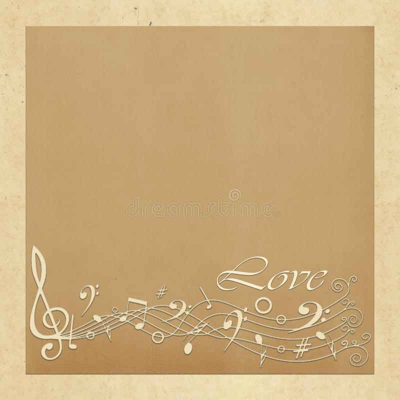 Tarjeta de regalo con los cuadrados del color, las notas musicales y el amor de la inscripción libre illustration