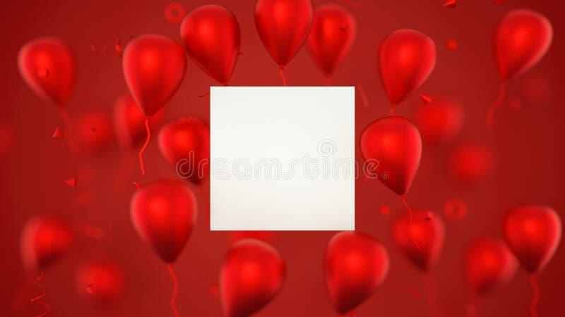 Tarjeta de regalo, tarjeta de cumpleaños con los globos Una muestra de la bandera de los globos con los globos del partido repres foto de archivo libre de regalías