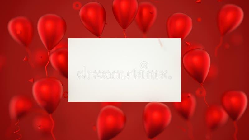 Tarjeta de regalo, tarjeta de cumpleaños con los globos Una muestra de la bandera de los globos con los globos del partido repres imágenes de archivo libres de regalías