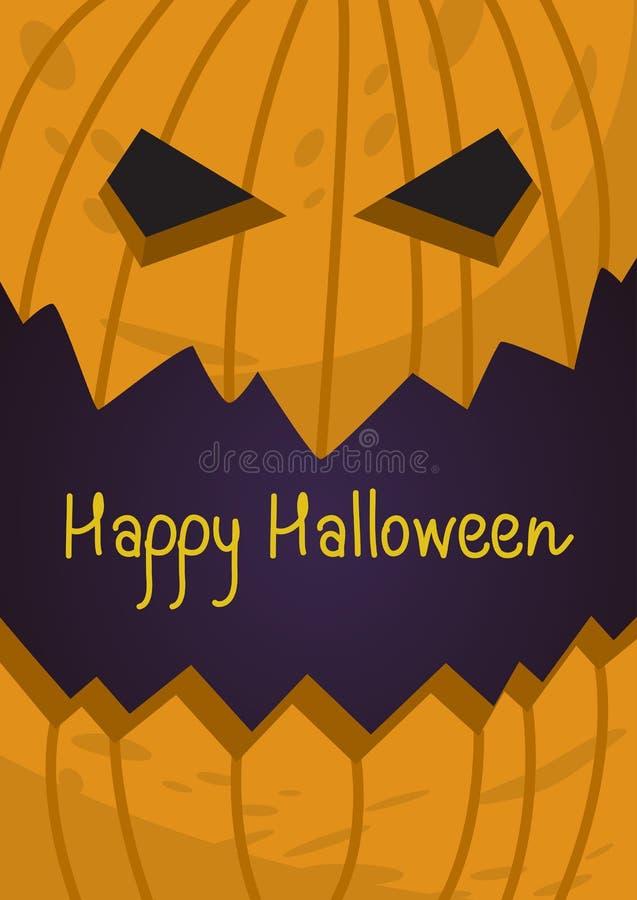 Tarjeta de regalo de vacaciones de Halloween con la linterna del mal de la calabaza libre illustration