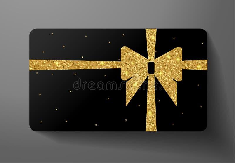 Tarjeta de regalo VIP Diseño del espacio en blanco del día de fiesta con el modelo de oro grande del brillo del arco, de la cinta libre illustration