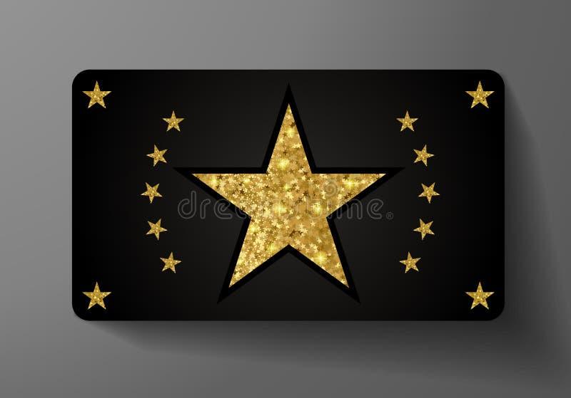Tarjeta de regalo VIP Premio del día de fiesta con forma de la estrella y el modelo de oro grandes del brillo del oro ilustración del vector