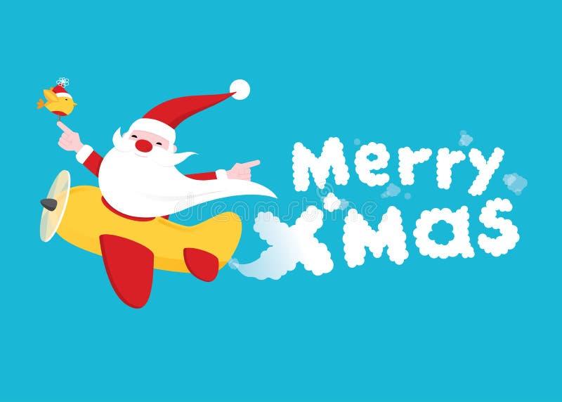 Tarjeta de Santa Christmas Greeting del vuelo ilustración del vector