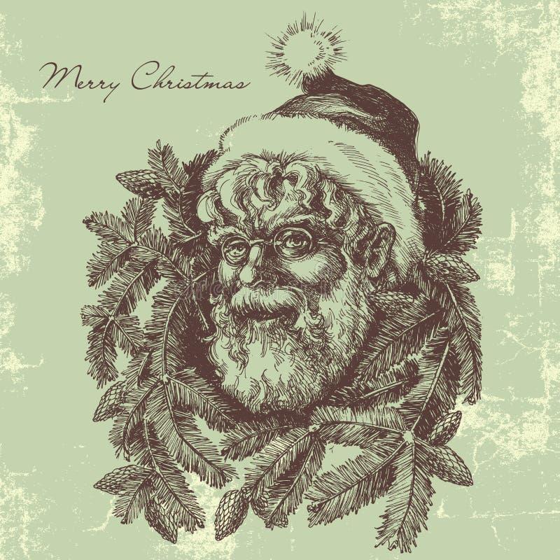 Tarjeta de Santa Claus del vintage ilustración del vector
