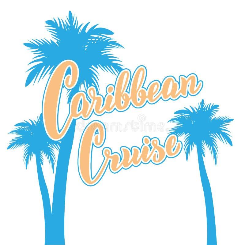 Tarjeta de texto del Caribe de la travesía Mano dibujada poniendo letras al cartel con las palmas Plantilla de la agencia turísti libre illustration