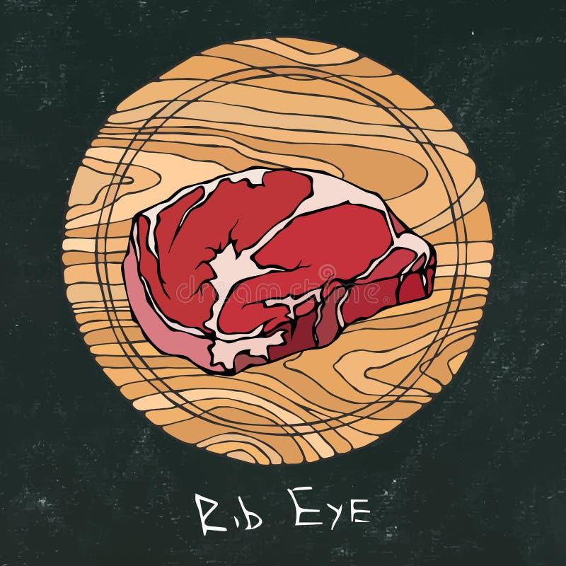 Tarjeta de tiza negra La mayoría del filete popular en una tabla de cortar de madera redonda Corte de la carne de vaca Guía de la fotos de archivo