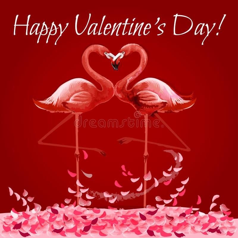 Tarjeta de Valentine Day con el corazón del amor de los flamencos ilustración del vector