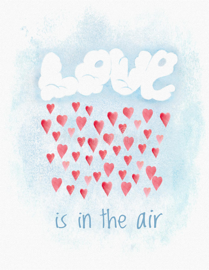 Tarjeta de Valentine Day de la acuarela ilustración del vector