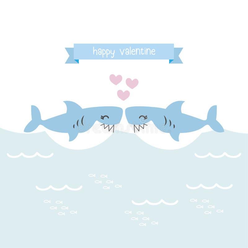 Tarjeta de Valentine Greeting Tiburones lindos con el corazón stock de ilustración