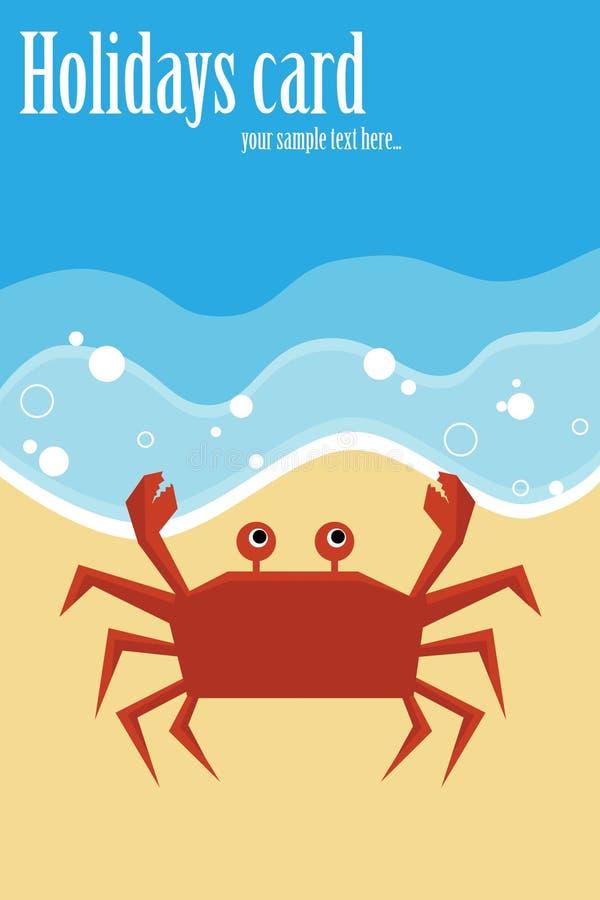Tarjeta de verano con el cangrejo libre illustration