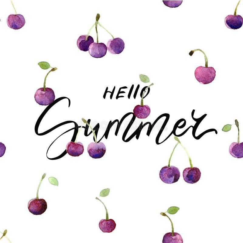 Tarjeta de verano con las cerezas dibujadas mano de las letras y de la acuarela - hola verano imagenes de archivo