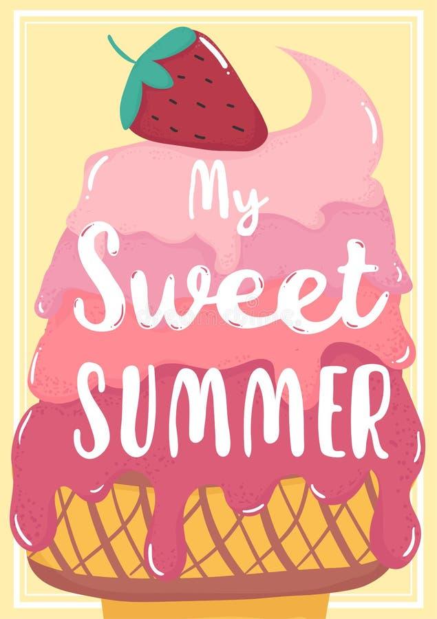 Tarjeta de verano derretida starwberry del helado del rosa dulce lindo con mi texto dulce del verano libre illustration