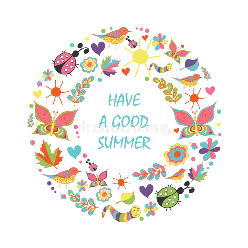 Tarjeta de verano en la guirnalda floral de la forma en el fondo blanco imagen de archivo