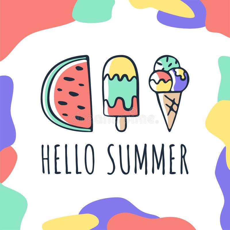 Tarjeta de verano exhausta de la mano del vector con poner letras a elementos creativos del garabato del verano del hola como el  stock de ilustración