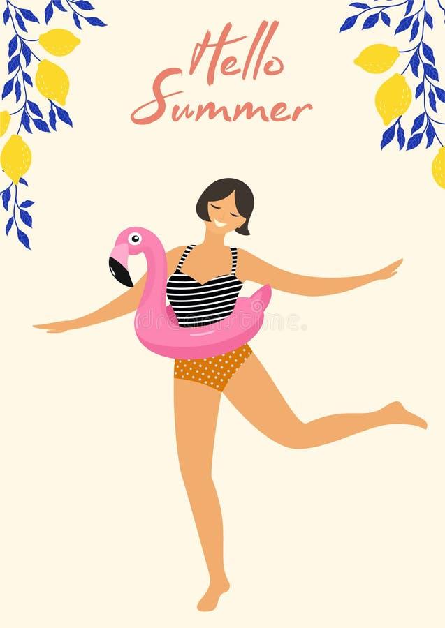 Tarjeta de verano tropical con el flamenco de la muchacha de baile y del flotador de la piscina Ilustración del vector libre illustration