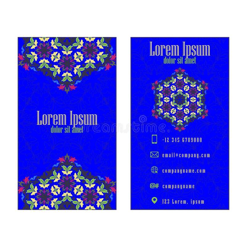 Tarjeta de visita azul del vintage del vector Modelo y ornamentos florales de la mandala stock de ilustración