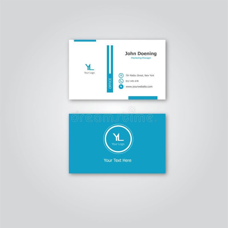 Tarjeta de visita azul elegante simple del tema por Niquebickin imagenes de archivo