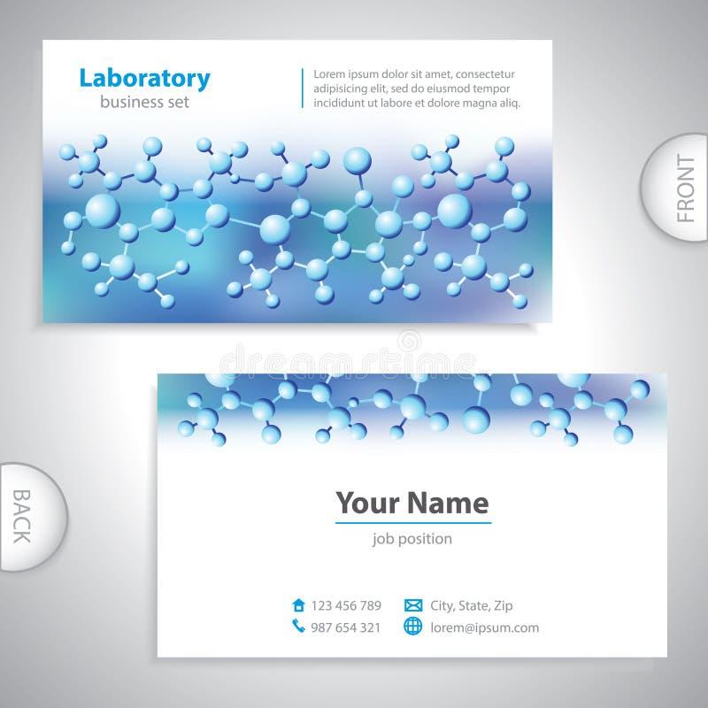 Tarjeta de visita azul-violeta universal del laboratorio. stock de ilustración