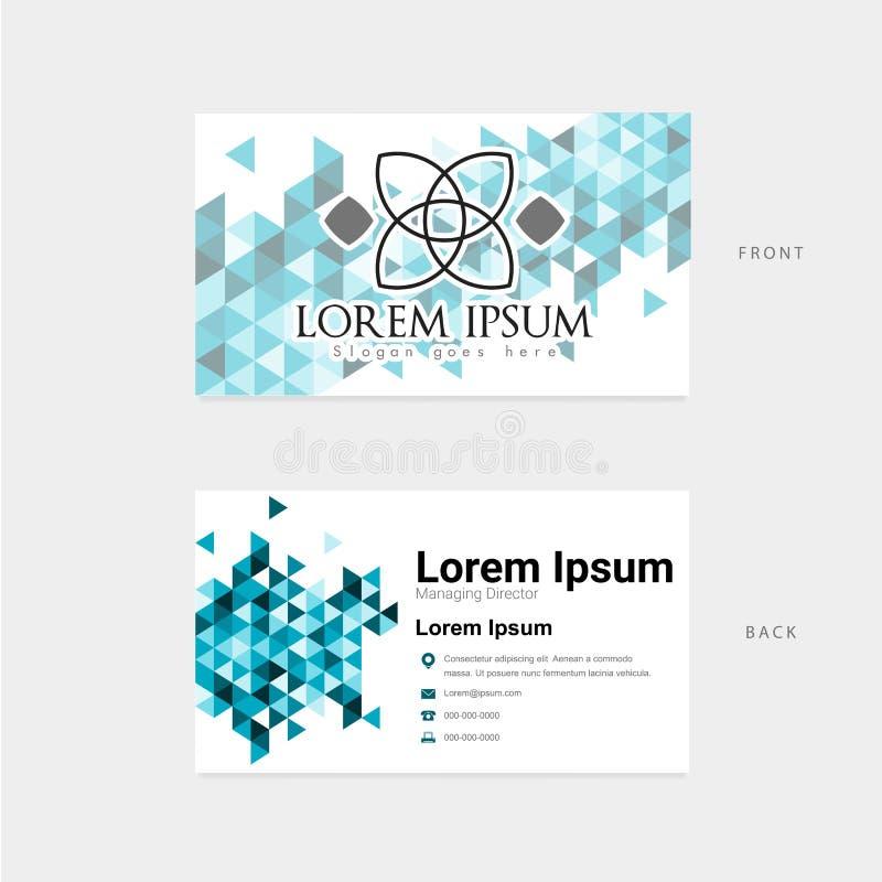 Tarjeta de visita con el gráfico del elemento del polígono stock de ilustración