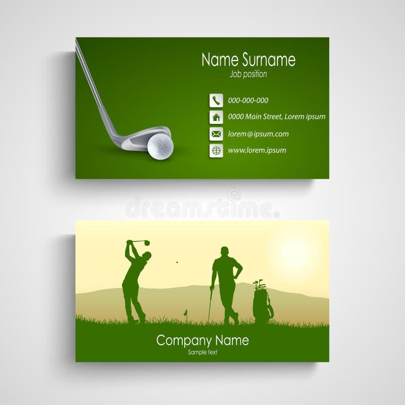 Tarjeta de visita con la plantilla verde del diseño del golf stock de ilustración