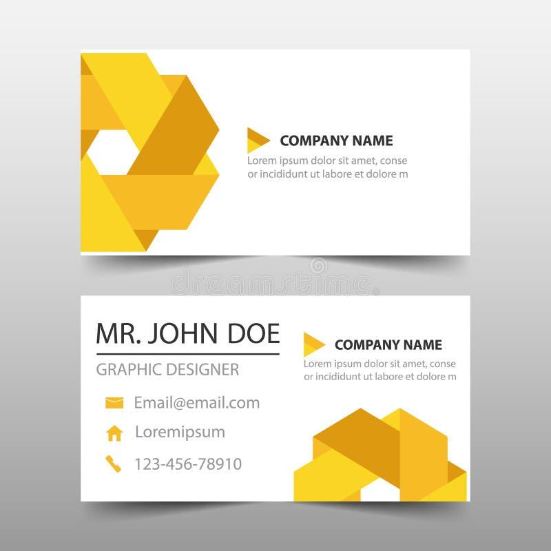 Tarjeta de visita corporativa amarilla del triángulo, plantilla de la tarjeta de presentación, plantilla limpia simple horizontal stock de ilustración