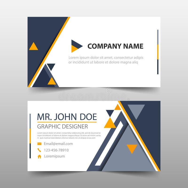 Tarjeta de visita corporativa amarilla negra del triángulo, plantilla de la tarjeta de presentación, plantilla limpia simple hori ilustración del vector