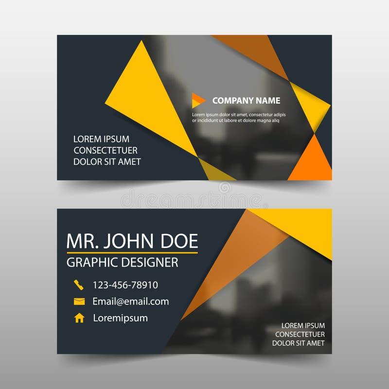 Tarjeta de visita corporativa anaranjada, plantilla de la tarjeta de presentación, plantilla limpia simple horizontal del diseño  stock de ilustración