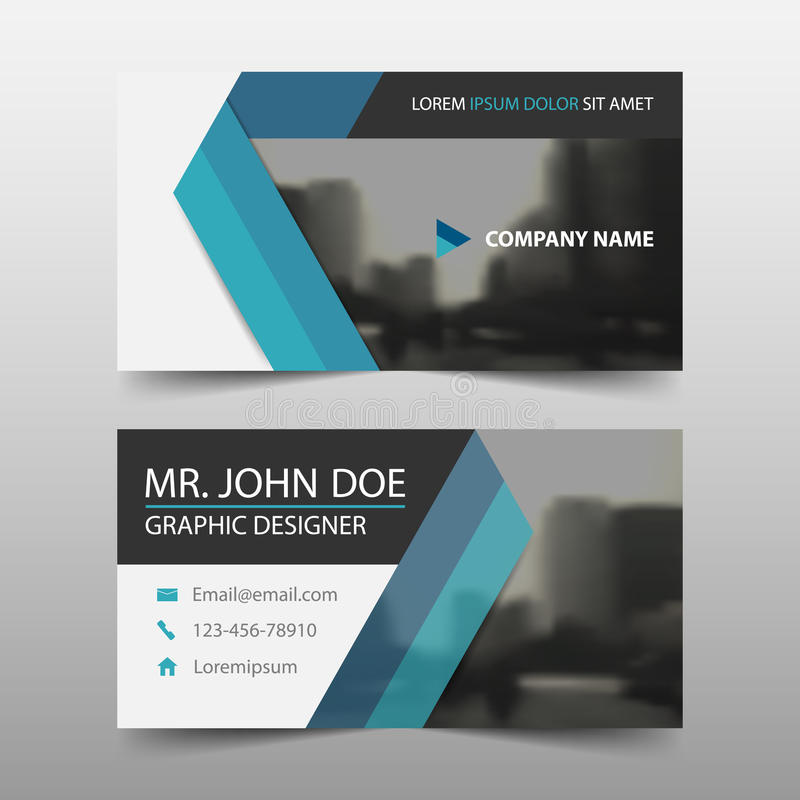 Tarjeta de visita corporativa azul del triángulo, plantilla de la tarjeta de presentación, plantilla limpia simple horizontal del stock de ilustración