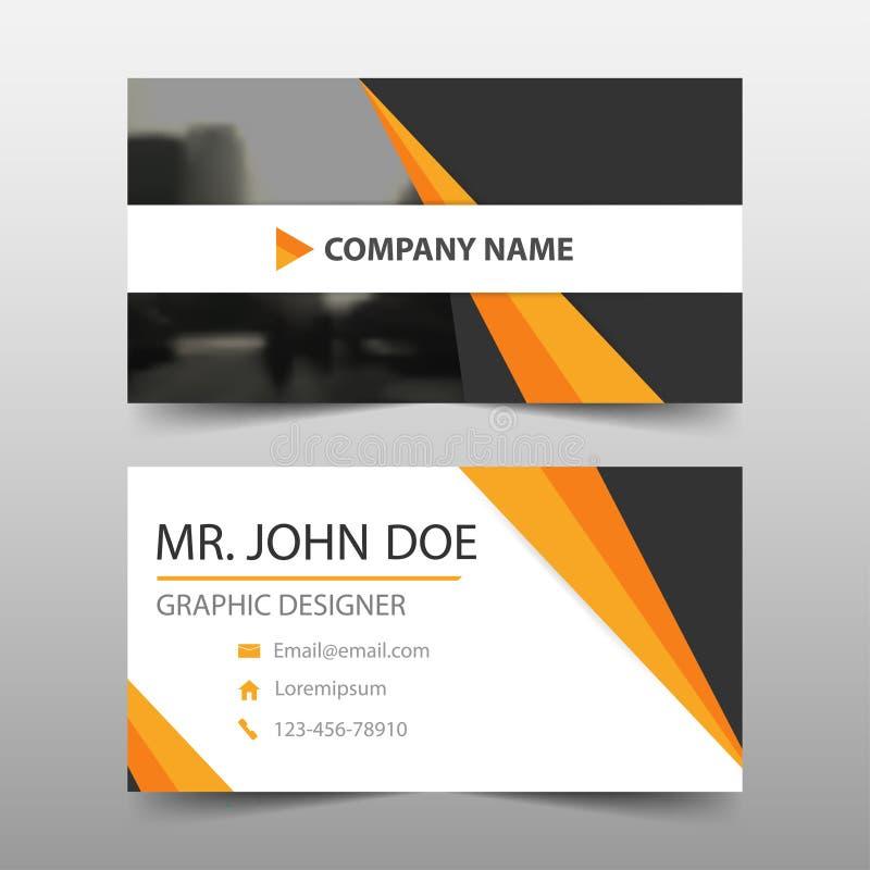 Tarjeta de visita corporativa negra anaranjada, plantilla de la tarjeta de presentación, plantilla limpia simple horizontal del d stock de ilustración