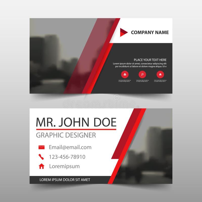 Tarjeta de visita corporativa negra roja, plantilla de la tarjeta de presentación, plantilla limpia simple horizontal del diseño  stock de ilustración