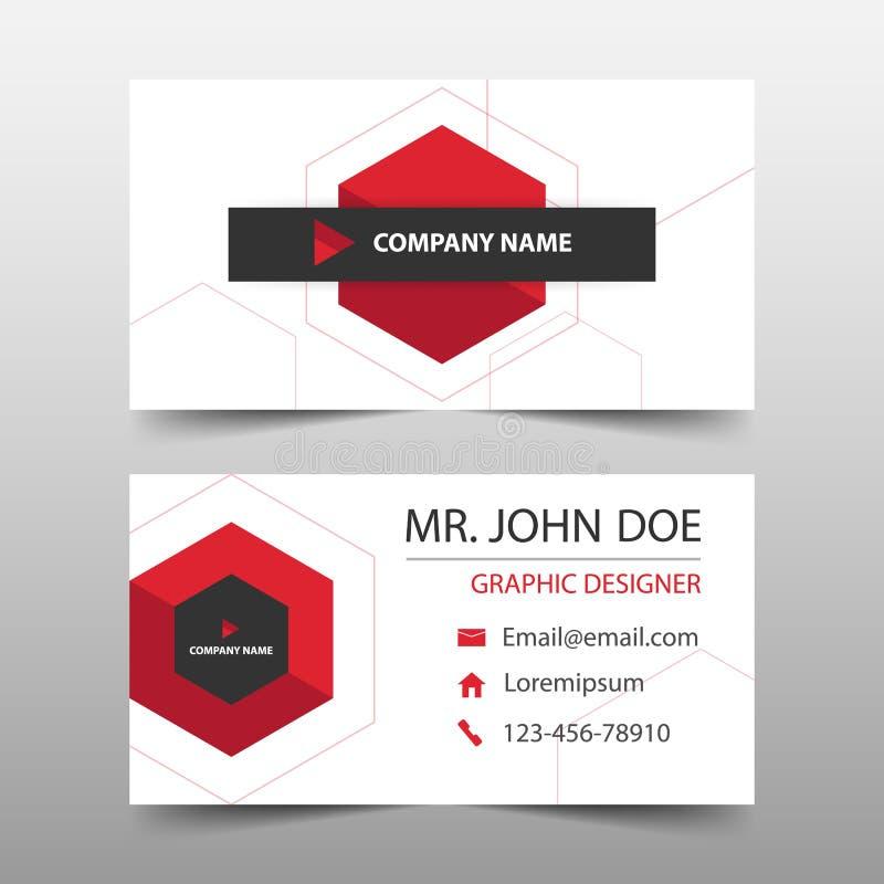 Tarjeta de visita corporativa roja del hexágono, plantilla de la tarjeta de presentación, plantilla limpia simple horizontal del  stock de ilustración