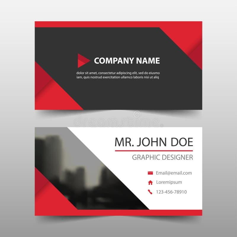 Tarjeta de visita corporativa roja del triángulo, plantilla de la tarjeta de presentación, plantilla limpia simple horizontal del ilustración del vector