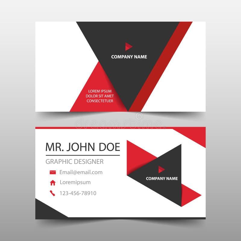 Tarjeta de visita corporativa roja del triángulo, plantilla de la tarjeta de presentación, plantilla limpia simple horizontal del stock de ilustración