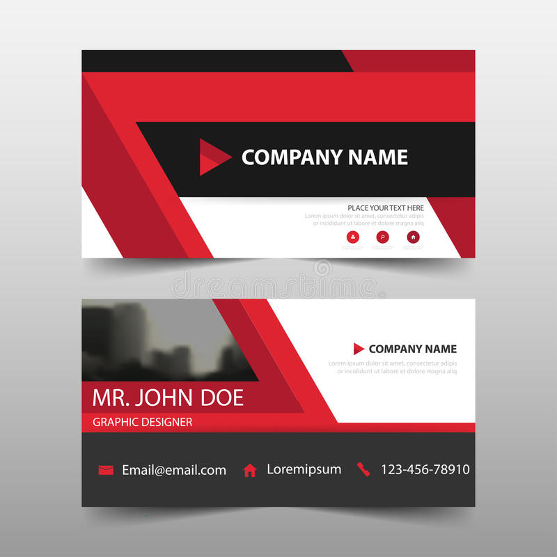 Tarjeta de visita corporativa roja, plantilla de la tarjeta de presentación, plantilla limpia simple horizontal del diseño de la  stock de ilustración
