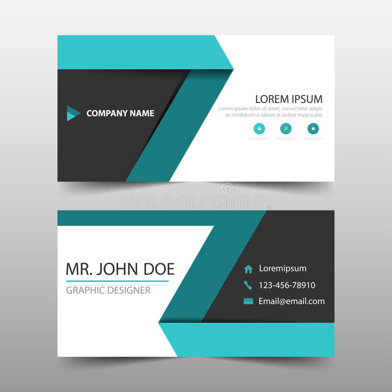 Tarjeta de visita corporativa verde de la etiqueta, plantilla de la tarjeta de presentación, plantilla limpia simple horizontal d ilustración del vector