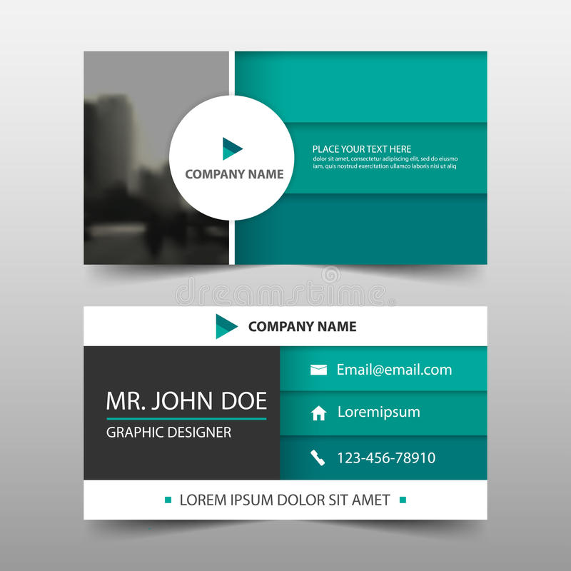 Tarjeta de visita corporativa verde del círculo, plantilla de la tarjeta de presentación, plantilla limpia simple horizontal del  stock de ilustración