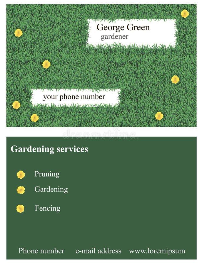 Tarjeta de visita de la hierba stock de ilustración