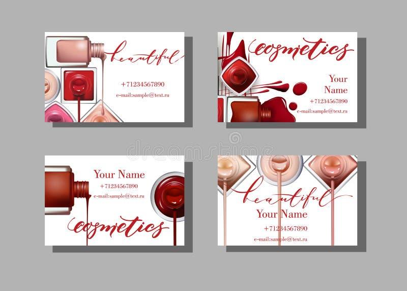 Tarjeta de visita del artista de maquillaje Plantilla del vector con el esmalte de uñas del modelo de los artículos del maquillaj ilustración del vector