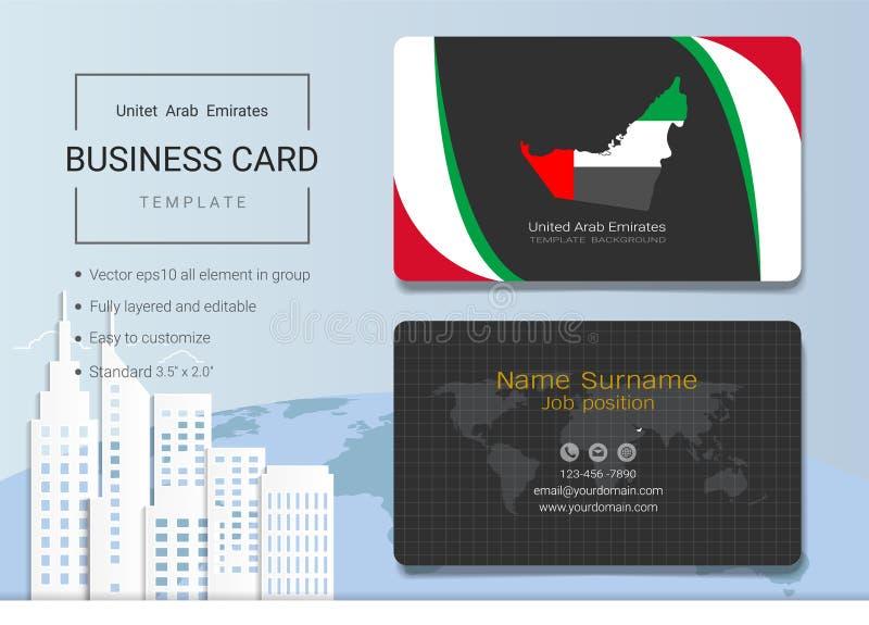 Tarjeta de visita del extracto de los UAE o plantilla de la tarjeta de presentación stock de ilustración