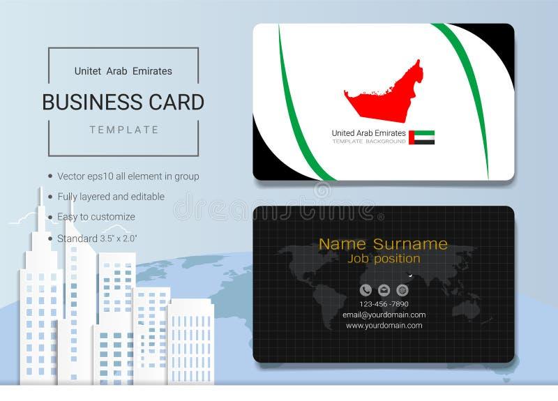Tarjeta de visita del extracto de los UAE o plantilla de la tarjeta de presentación ilustración del vector