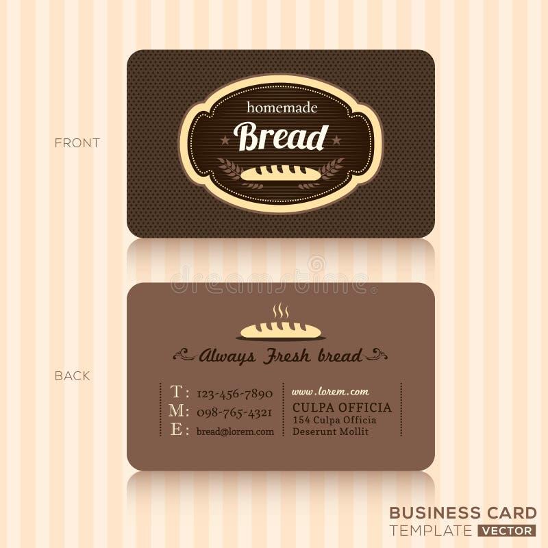 Tarjeta de visita del vintage para la tienda de la panadería libre illustration
