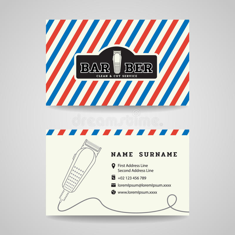Tarjeta de visita - el vector del logotipo de las podadoras de la peluquería de caballeros y de pelo diseña stock de ilustración